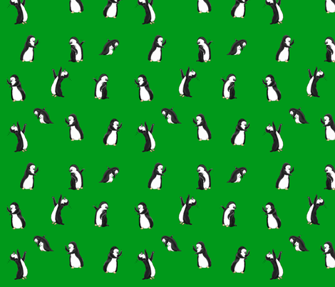 penguins_dancing-green fabric by flying_pigs on Spoonflower - custom fabric