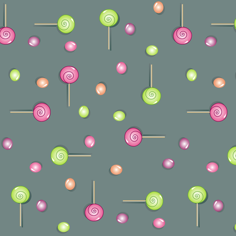 Scattered Sweets on Slate fabric by smuk on Spoonflower - custom fabric