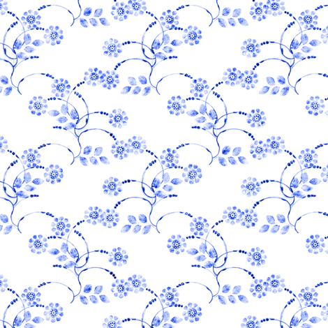 Petite folk floral clusters in blue fabric by joanmclemore on Spoonflower - custom fabric