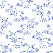 Petite folk floral clusters in blue
