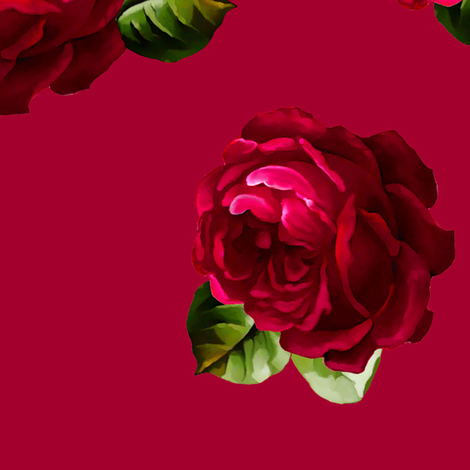 Roses with leaves complete design
