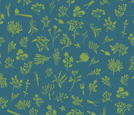 Grow Great Grub - Teal & Green fabric by fluffco on Spoonflower - custom fabric