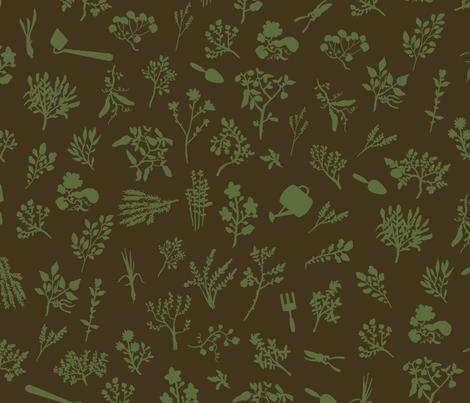 Grow Great Grub - Brown & Sage fabric by fluffco on Spoonflower - custom fabric