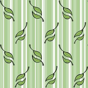 Fall Tango green on green white stripes