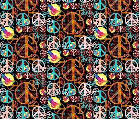 peace and people power on black fabric by spontaneouscombustion on Spoonflower - custom fabric