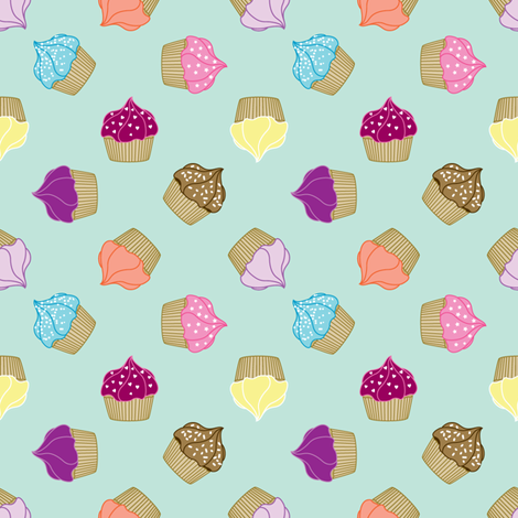 Cupcake Scatter fabric by ruthevelyn on Spoonflower - custom fabric