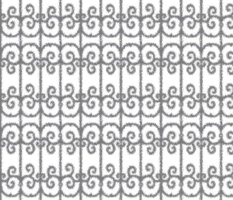 Ikat Wrought Iron Swirls in Gray fabric by fridabarlow on Spoonflower - custom fabric