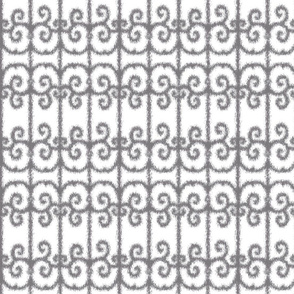 Ikat Wrought Iron Swirls in Gray