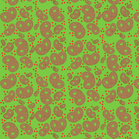 chocolate covered pretzels with sprinkles and red hots fabric by kfrogb on Spoonflower - custom fabric