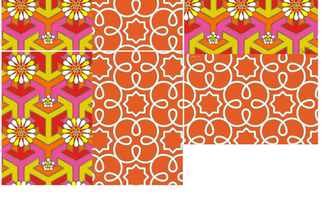 Five Reversible Placemats - Orange Geometric fabric by anntuck on Spoonflower - custom fabric
