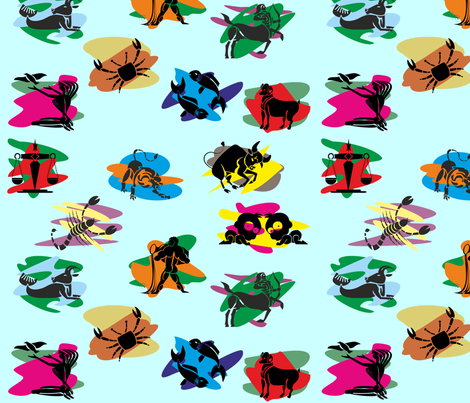 Zodiac_Horoscope_color_background1_sm fabric by moonduster on Spoonflower - custom fabric