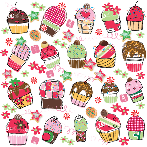 SWEET CUPCAKE KISSES fabric by deeniespoonflower on Spoonflower - custom fabric