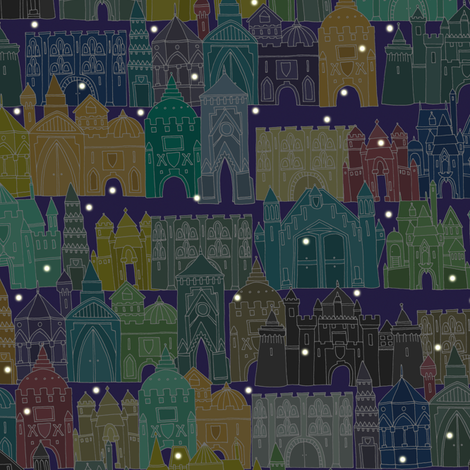 castle avenue night (small) fabric by scrummy on Spoonflower - custom fabric