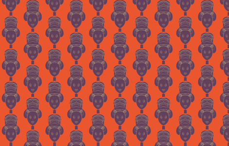 African woman – orange and plum fabric by shawnsargent on Spoonflower - custom fabric