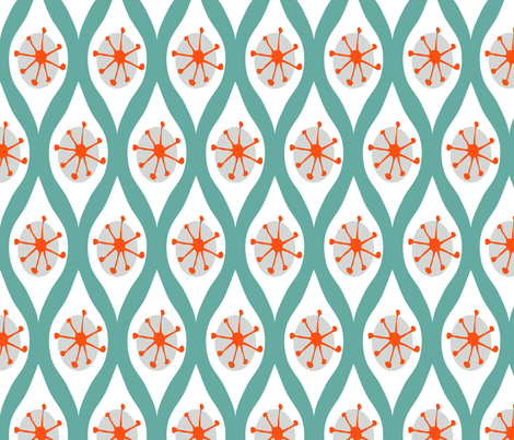 Modern White and Orange on Turquoise fabric by emilyannstudio on Spoonflower - custom fabric