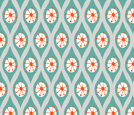 Modern Turquoise and Orange on Grey fabric by emilyannstudio on Spoonflower - custom fabric