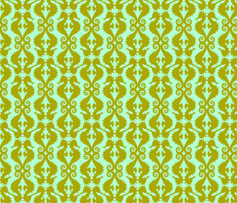 Seahorse Half-drop: Olive & Mint fabric by nadiahassan on Spoonflower - custom fabric