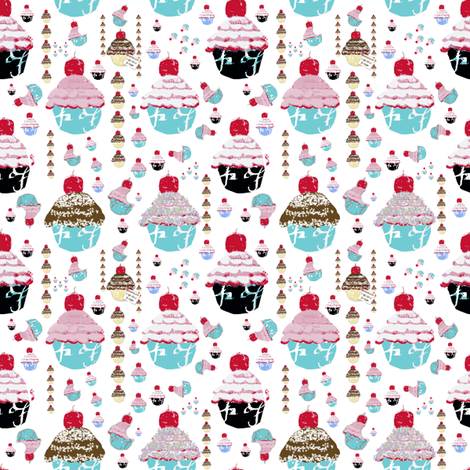 A Cupcake Dream fabric by karenharveycox on Spoonflower - custom fabric