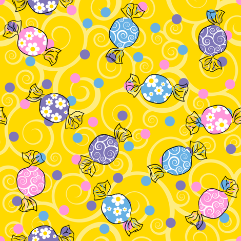Sweetie Pie - Dark Yellow fabric by shelleymade on Spoonflower - custom fabric