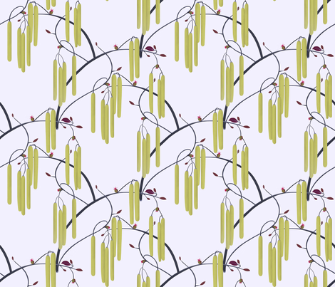 Hazelnut catkins fabric by alfabesi on Spoonflower - custom fabric