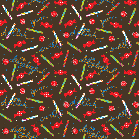 yum yum brown fabric by lilbirdfly on Spoonflower - custom fabric