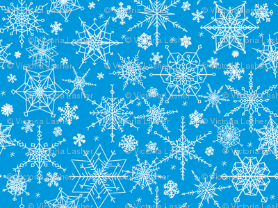 Snowflakes - medium blue