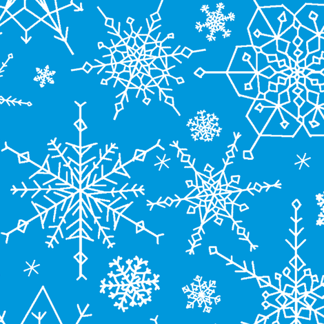 Snowflakes - medium blue