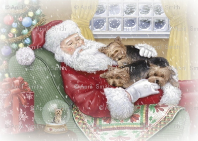 Sleeping Santa with Yorkies