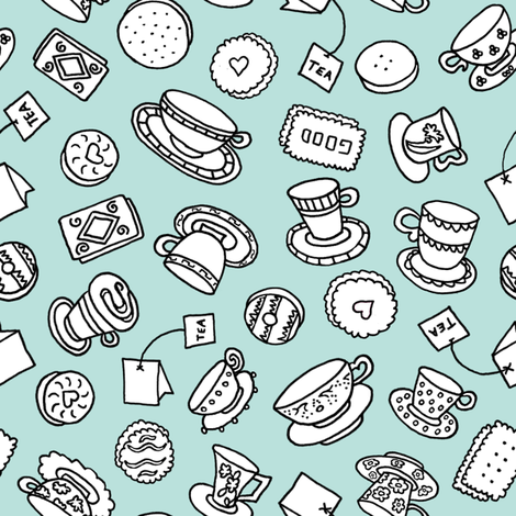 Tea Time Sweets (lt. aqua) fabric by pattyryboltdesigns on Spoonflower - custom fabric