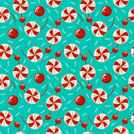 Peppermint Candy Garland and Sweet Candy Sprinkles fabric by retrorudolphs on Spoonflower - custom fabric
