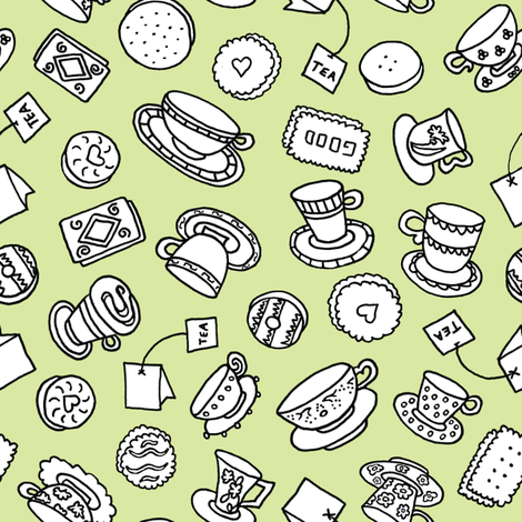 Tea Time Sweets (lime) fabric by pattyryboltdesigns on Spoonflower - custom fabric