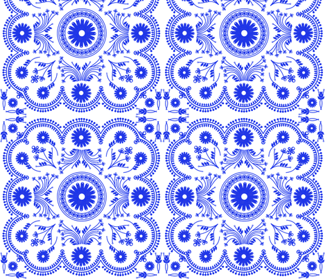 Eiffeltileblockblue fabric by bussybuffu on Spoonflower - custom fabric