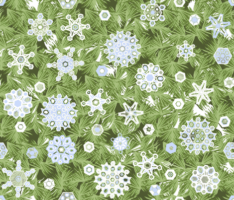 Snowflakes_and_pine_repeat_DA fabric by khowardquilts on Spoonflower - custom fabric