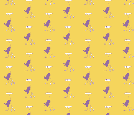 Beak Bird – yellow and purple fabric by shawnsargent on Spoonflower - custom fabric