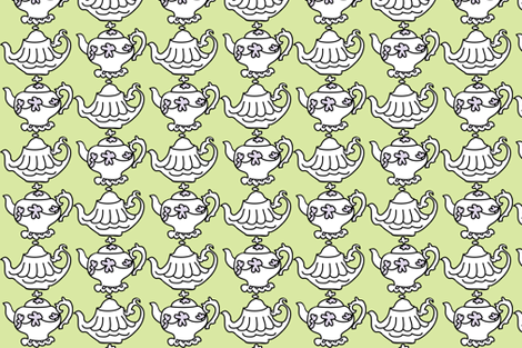 Teapots for Teatime Sweets (lime & lavender) fabric by pattyryboltdesigns on Spoonflower - custom fabric