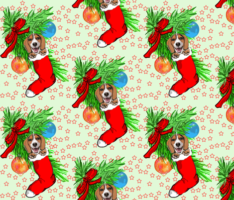 Beagle Christmas fabric by dogdaze_ on Spoonflower - custom fabric