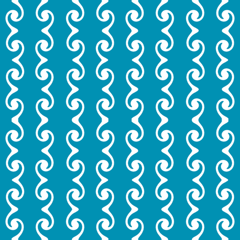 Swirly Stripes  -blue-green & white