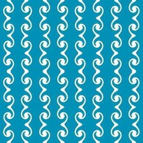 Swirly Stripes  -blue-green & white