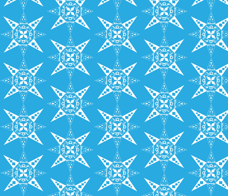 Nativity Snowflake blue fabric by kfrogb on Spoonflower - custom fabric