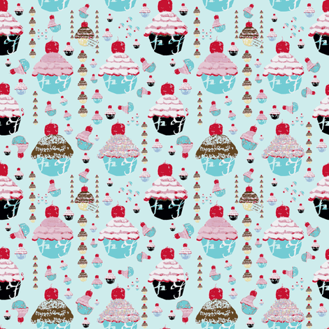 A Cupcake Dream on Paris Blue fabric by karenharveycox on Spoonflower - custom fabric