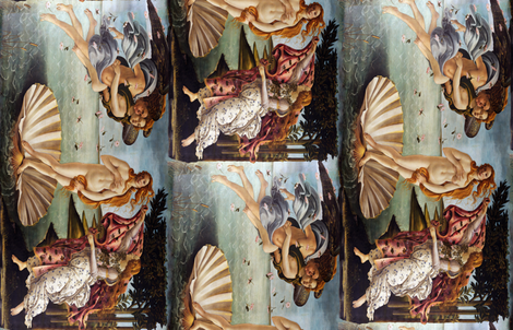 Seamless half-drop repeat: Sandro Botticelli - Birth of Venus fabric by bonnie_phantasm on Spoonflower - custom fabric