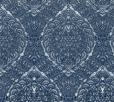 Queen Margareta's Silver Gown Brocade Imitation fabric by bonnie_phantasm on Spoonflower - custom fabric