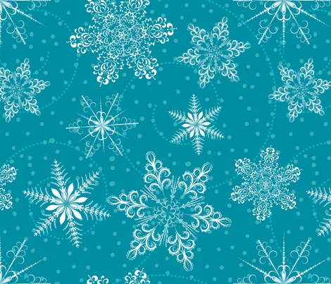 Large Snowflakes On Blue fabric by diane555 on Spoonflower - custom fabric