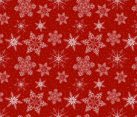 Large Snowflakes On Red fabric by diane555 on Spoonflower - custom fabric