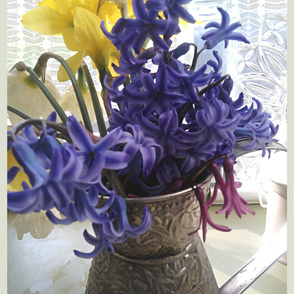 Wall hanging - Daffodils hyacinth - still life