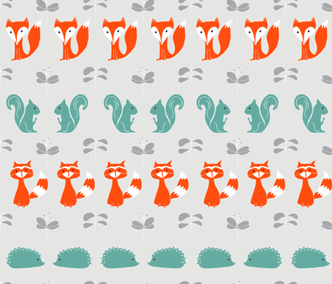 Woodland Creatures on Grey fabric by emilyannstudio on Spoonflower - custom fabric