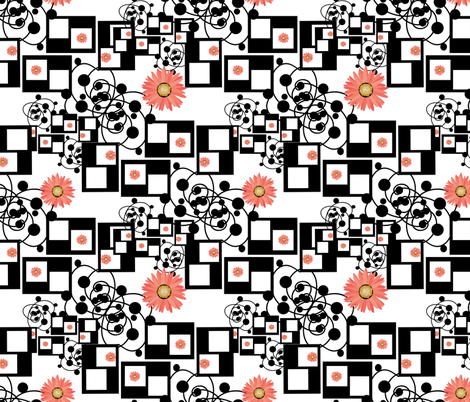 gerberas black and white fabric by kociara on Spoonflower - custom fabric