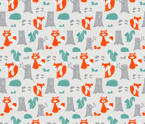 Woodland Creatures Scattered fabric by emilyannstudio on Spoonflower - custom fabric