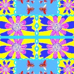 Crazy Quilt of Flowers and Bees