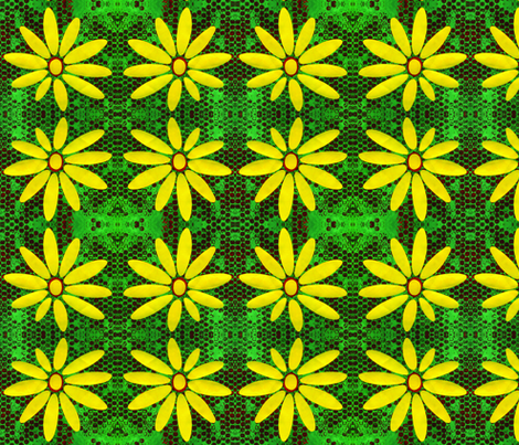 Green & Yellow Daisy fabric by eyespotdesigns on Spoonflower - custom fabric